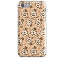 Sleeping  funny fat cat pattern. Happy cat silhouette.  iPhone Case/Skin