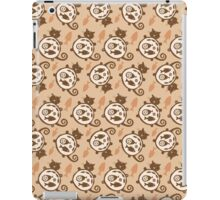 Sleeping  funny fat cat pattern. Happy cat silhouette.  iPad Case/Skin