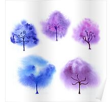 Cute watercolor trees Poster