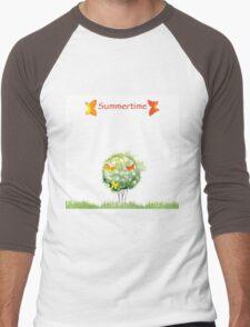 Blooming watercolor tree Men's Baseball ¾ T-Shirt