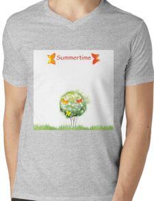 Blooming watercolor tree Mens V-Neck T-Shirt