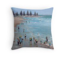 School children on the beach Throw Pillow