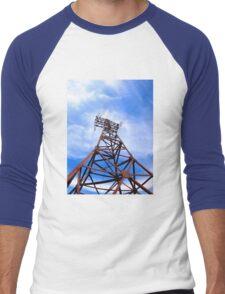 High-voltage tower on blue sky Men's Baseball ¾ T-Shirt