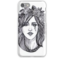 Beautiful crying woman with roses wreath. iPhone Case/Skin