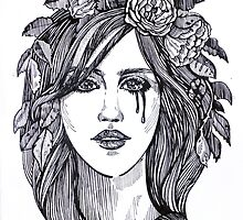 Beautiful crying woman with roses wreath. by Mehendra