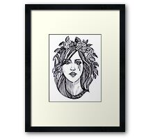 Beautiful crying woman with roses wreath. Framed Print