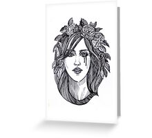 Beautiful crying woman with roses wreath. Greeting Card