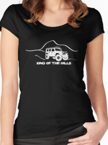 'King of the Hills' Jeep Wrangler 4x4 Sticker T-Shirt Design - White Women's Fitted Scoop T-Shirt
