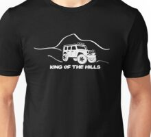'King of the Hills' Jeep Wrangler 4x4 Sticker T-Shirt Design - White Unisex T-Shirt