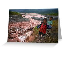 Child Gold Panners, Porgera Gold Mine Greeting Card