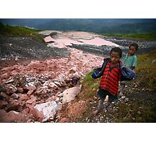 Child Gold Panners, Porgera Gold Mine Photographic Print