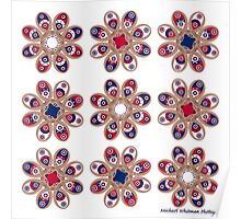 Red, White and Blue Foot Flowers Poster