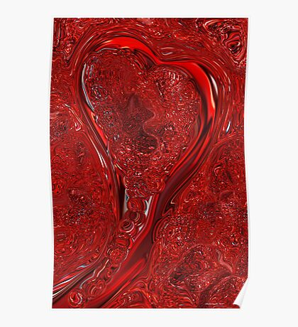 Red Abstract Heart  Poster