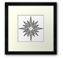 Surf in a Windrose – Compass (tattoo style) Framed Print