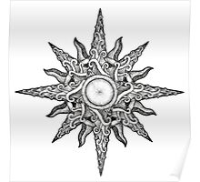 Surf in a Windrose – Compass (tattoo style) Poster