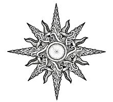 Surf in a Windrose – Compass (tattoo style) Photographic Print