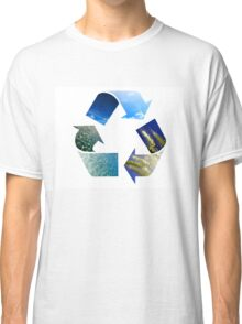 Conceptual recycling sign with images of nature Classic T-Shirt