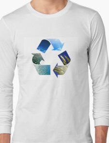 Conceptual recycling sign with images of nature Long Sleeve T-Shirt