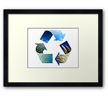 Conceptual recycling sign with images of nature Framed Print