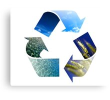 Conceptual recycling sign with images of nature Canvas Print