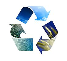 Conceptual recycling sign with images of nature Photographic Print