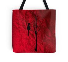 black cat on tree Tote Bag