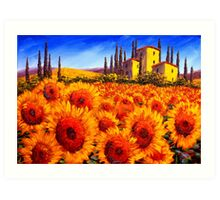 Tuscan Villa in the Sunflowers Art Print