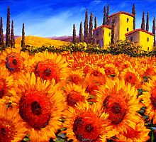 Tuscan Villa in the Sunflowers by sesillie