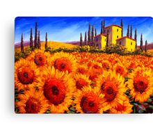 Tuscan Villa in the Sunflowers Canvas Print