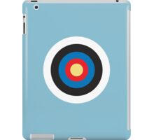 Bulls Eye, Right on Target, Roundel, Archery, on Blue iPad Case/Skin