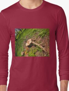 Stump of the cut tree on the edge of the forest Long Sleeve T-Shirt