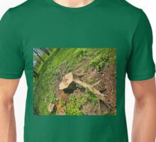 Stump of the cut tree on the edge of the forest Unisex T-Shirt