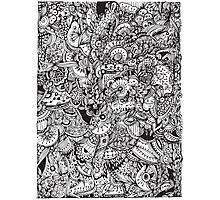 Black and white zentangle inspired art, Detailed rectangle, b&w doodle Photographic Print