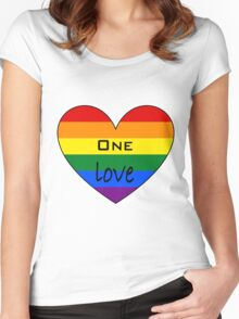One Love - Rainbow Heart Women's Fitted Scoop T-Shirt