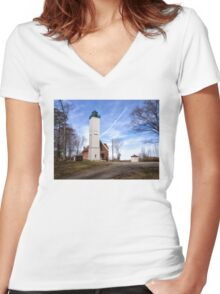 The Light at Presque Isle - Erie, PA Women's Fitted V-Neck T-Shirt