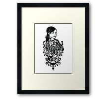 girl with tattoos design t-shirt Framed Print