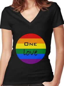 One Love - Circle Rainbow Women's Fitted V-Neck T-Shirt