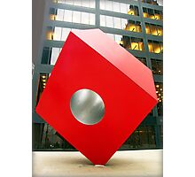 Red Cube Sculpture on Broadway, New York Photographic Print