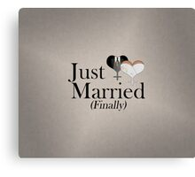 Just Married (Finally) Dress and Tux Hearts Tie Canvas Print