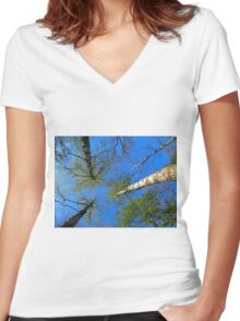 Birch trees on the background of the spring sky Women's Fitted V-Neck T-Shirt