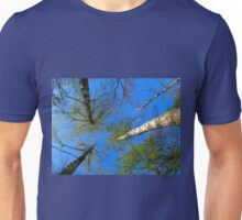 Birch trees on the background of the spring sky Unisex T-Shirt