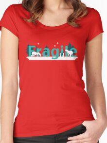 Fragile - polar bears arctic scene Women's Fitted Scoop T-Shirt