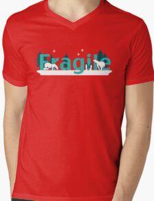 Fragile - polar bears arctic scene Mens V-Neck T-Shirt