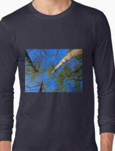 Three birch trees on the background of the sky Long Sleeve T-Shirt