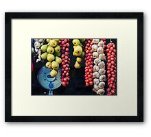 Beauty in tomatoes, garlic and pears Framed Print