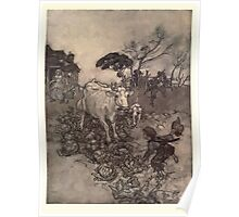 Rip Van Winkle by Washington Irving art Arthur Rackham 1919 0045 His Cow Would Go Astray Poster