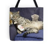 Just me, my beer, and my pussies...  Tote Bag
