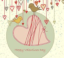Happy Valentines Day Card with Birds by linneae