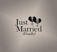 Just Married (Finally) Tuxedo Hearts Tie and Bow Tie by LiveLoudGraphic