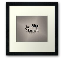Just Married (Finally) Tuxedo Hearts Tie and Bow Tie Framed Print